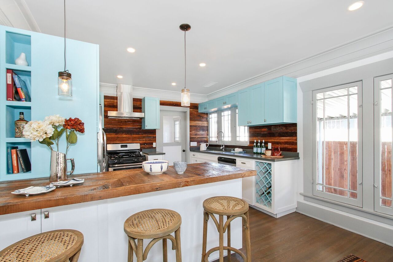 Awesome Tiffany Blue Kitchen Cabinets And Reclaimed Wood Counters