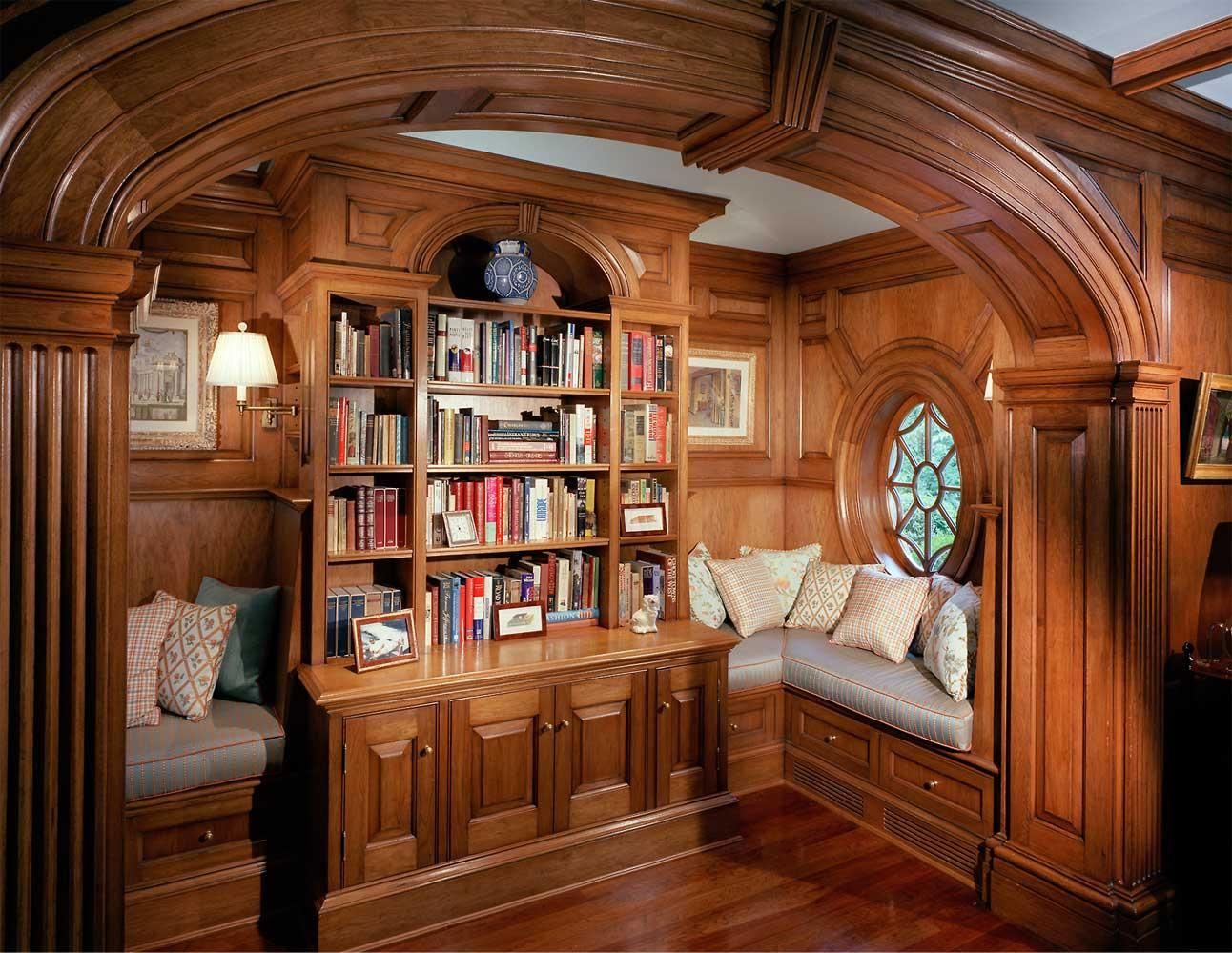 Cozy Window Seats Inside A Lovely Nook In Glossy Gorgeous And Classic Wood Paneled Library On Greenwich Connecticut By Hilton Vanderhorn Architects