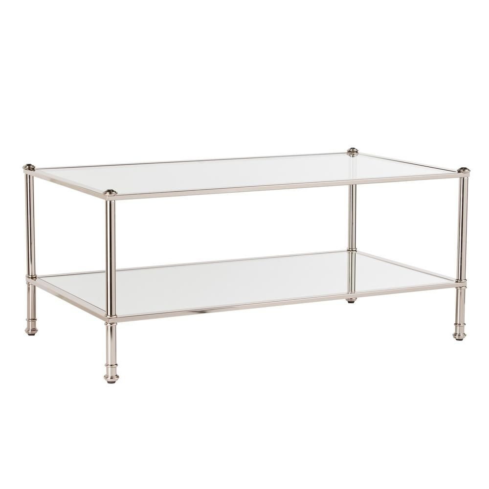 Southern Enterprises Britt 43 In Silver Large Rectangle Glass Coffee Table With Storage Hd748634 The Home Depot Rectangle Glass Coffee Table Coffee Table Glass Coffee Table [ 1000 x 1000 Pixel ]