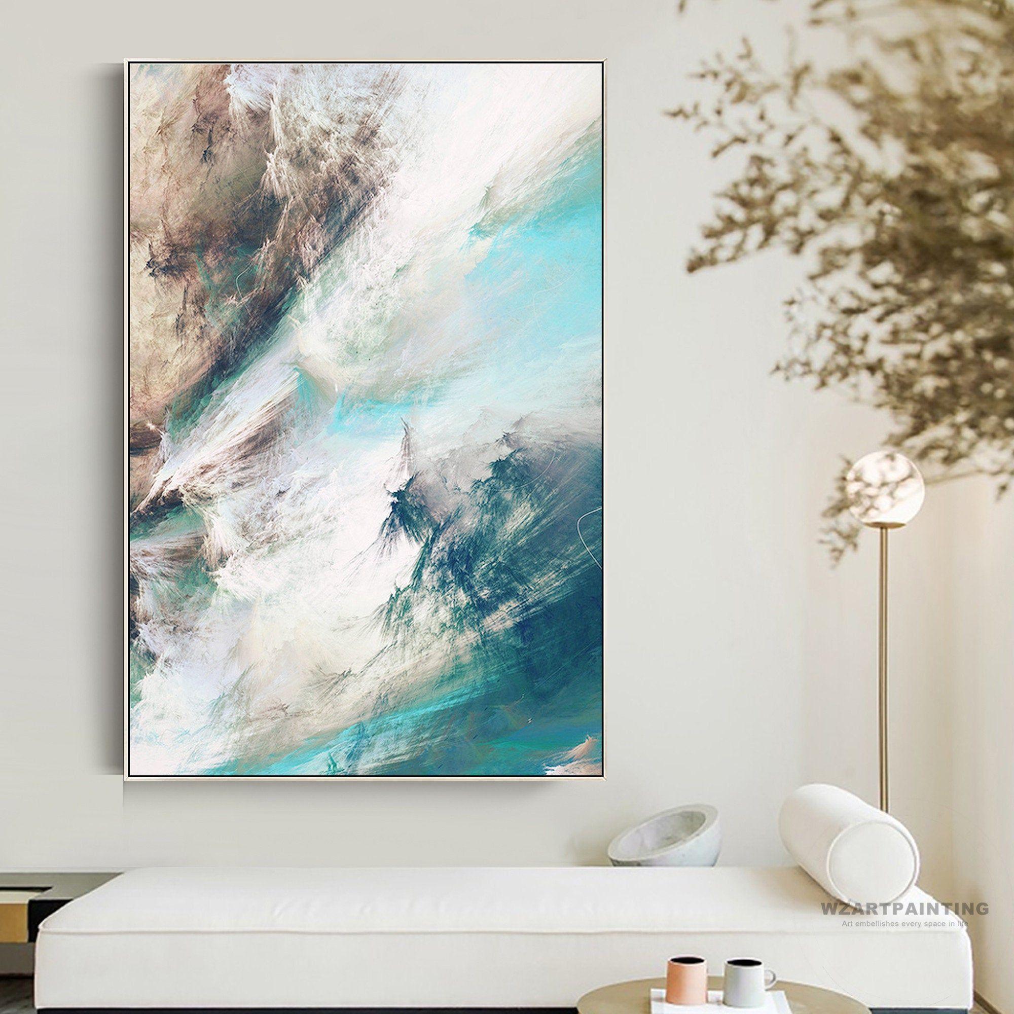 Framed Wall Art Modern Abstract Brown Navy Blue White Cloud Print