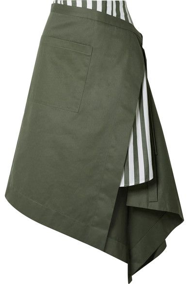 Monse – Asymmetric wrap-effect striped voile and cotton-drill midi skirt