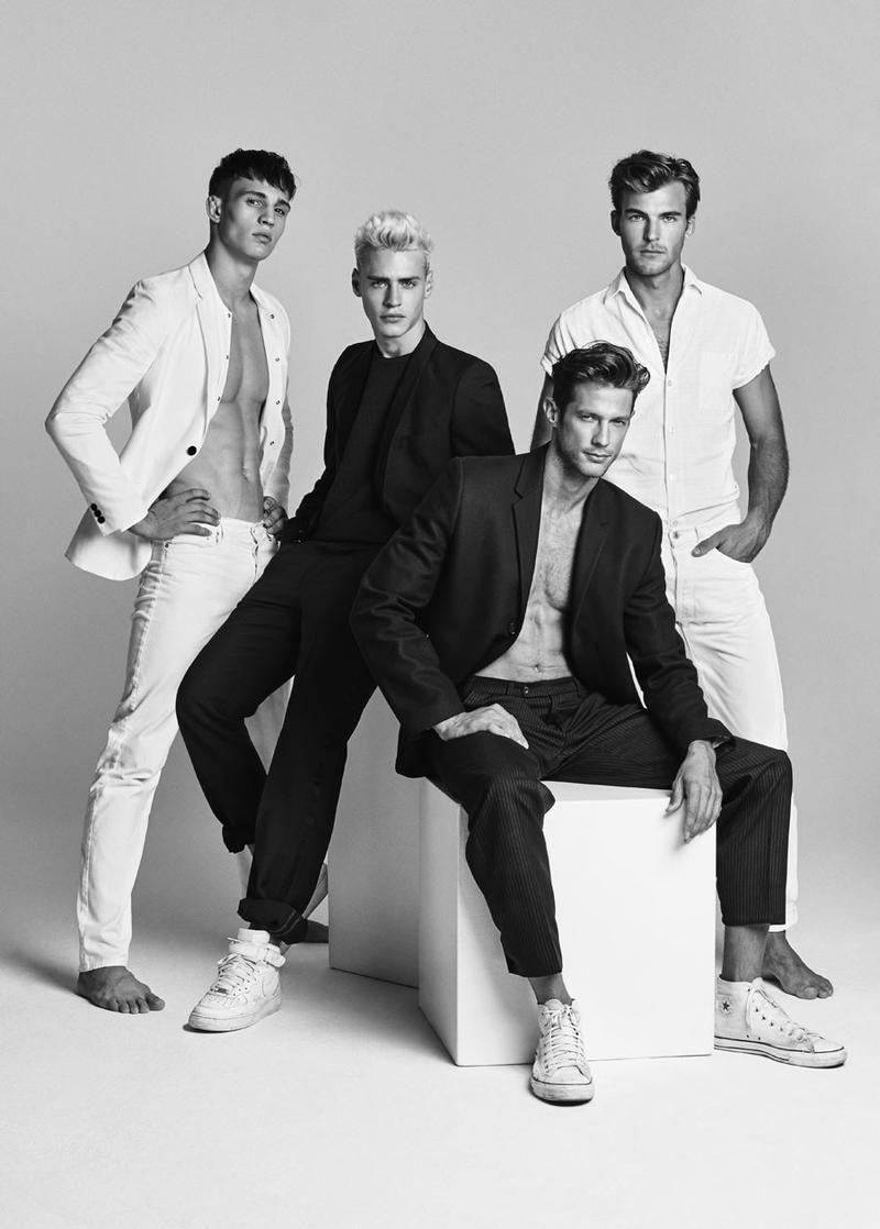 "Austrian Models (left to right) Julian Schneyder, Oliver Stummvoll, Domenique Melchior and Patrick Kafka at Wiener Model Management in ""#TeamWienerModels"" by"