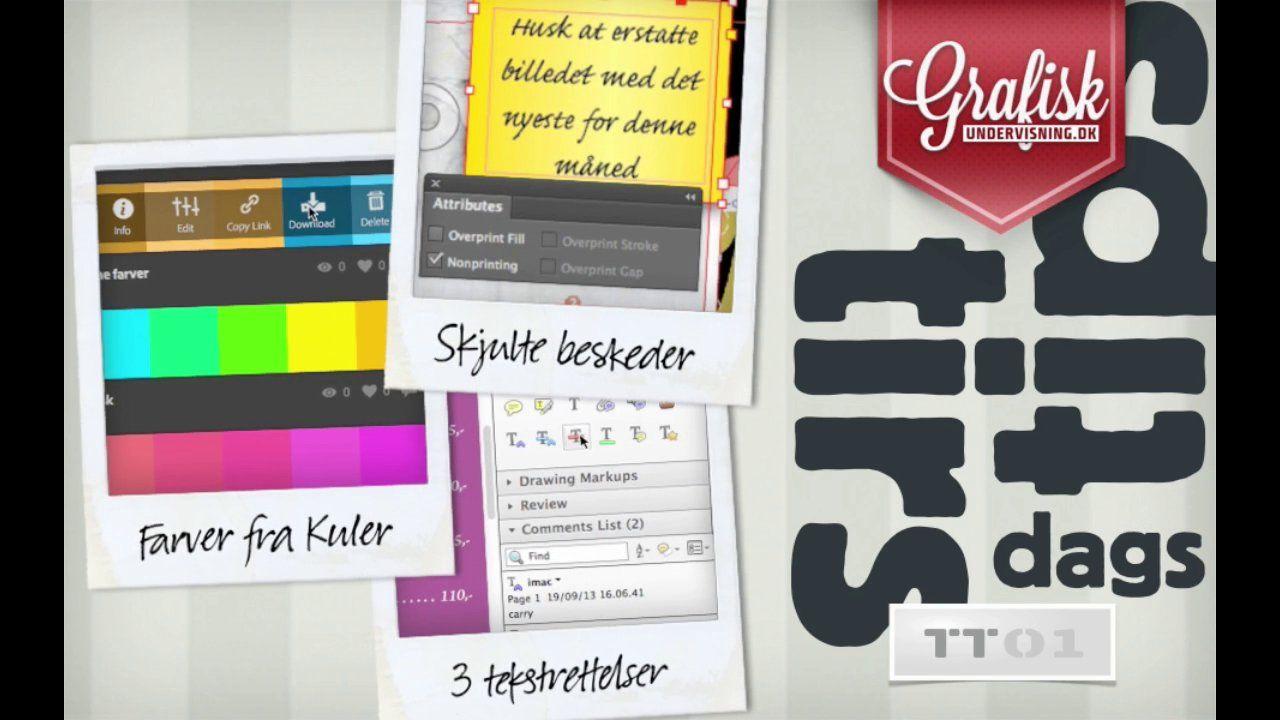 Lær at sætte skjulte beskeder i InDesign, om Adobe Kuler og om de tre slags rettelser alle burde kende til i Acrobat. #GrafiskUndervisning.dk Se videoen her: http://www.grafiskundervisning.dk/tirsdags-tips-snyd-dig-til-farver-bedre-korrektur-og-lav-skjulte-beskeder/
