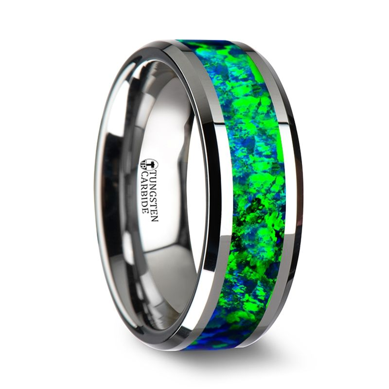 photon tungsten wedding band with beveled edges and emerald green sapphire blue color opal inlay