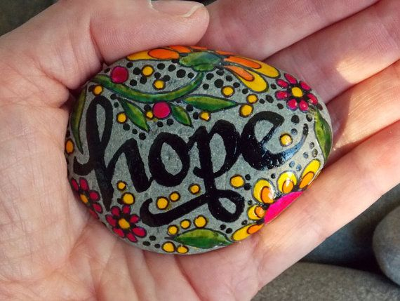Holding On To Hope /Painted Rock / Sandi Pike by LoveFromCapeCod, $32.00