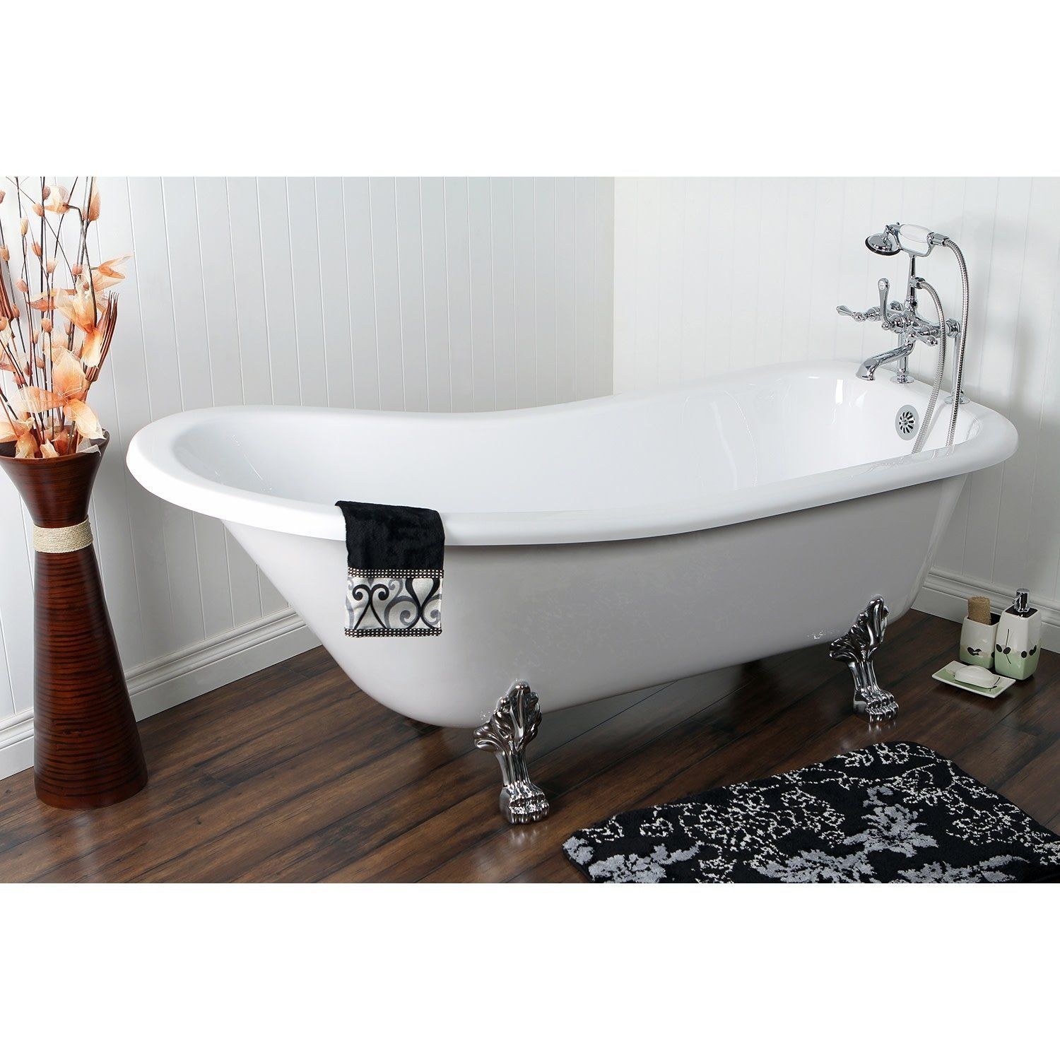 Slipper inch acrylic clawfoot tub with faucet combo upstairs