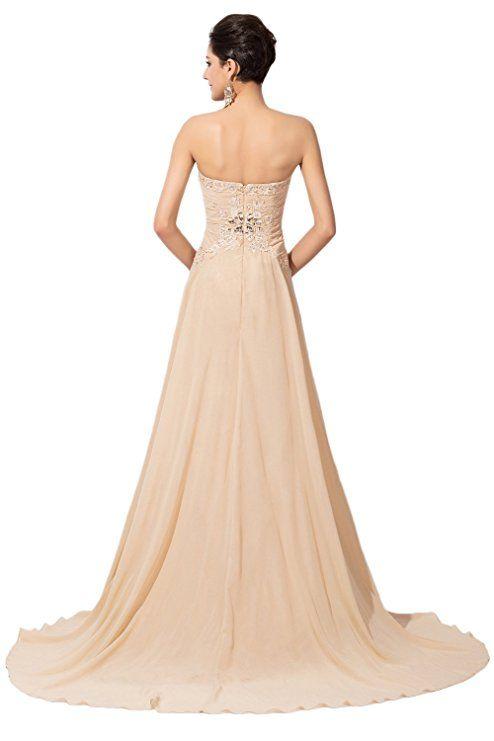 Amazon.com: Sunvary Champagne Chiffon and Lace Bridesmaid Evening Dresses Long: Clothing