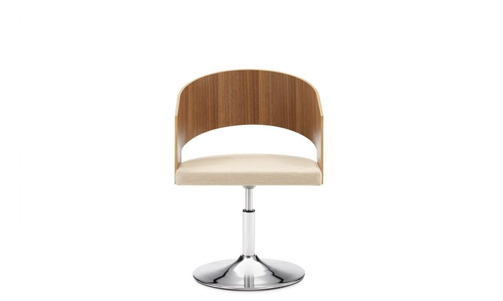 BØTTE -  341 - Walnut shell, upholstered seat & chrome disc base #chair #Sourceseating #OfficeDesign #office #interiordesign #furniture    http://www.benharoffice.com/