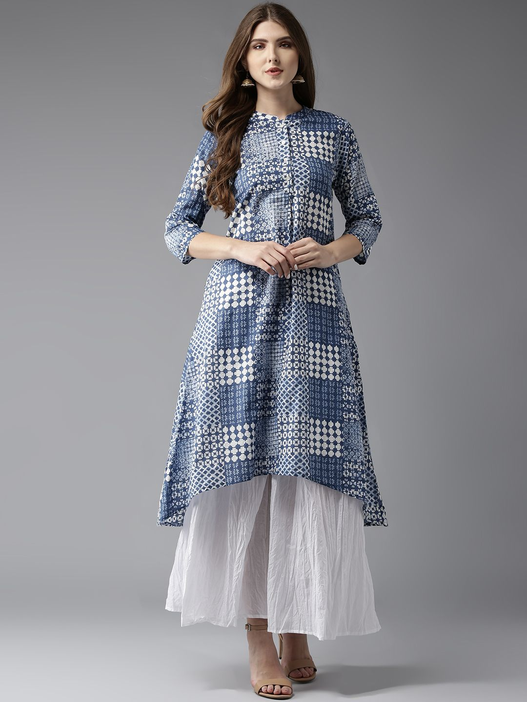 0d2fc5ea81 HERE&NOW Blue & White Printed A-Line Kurta   Women's Kurti in 2019 ...