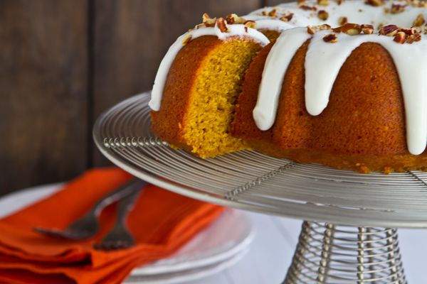 Bourbon Pumpkin Bundt Cake with Bourbon Cream Cheese Glaze. Looks decadent. Pin leads back to A Communal Table blog and the recipe!