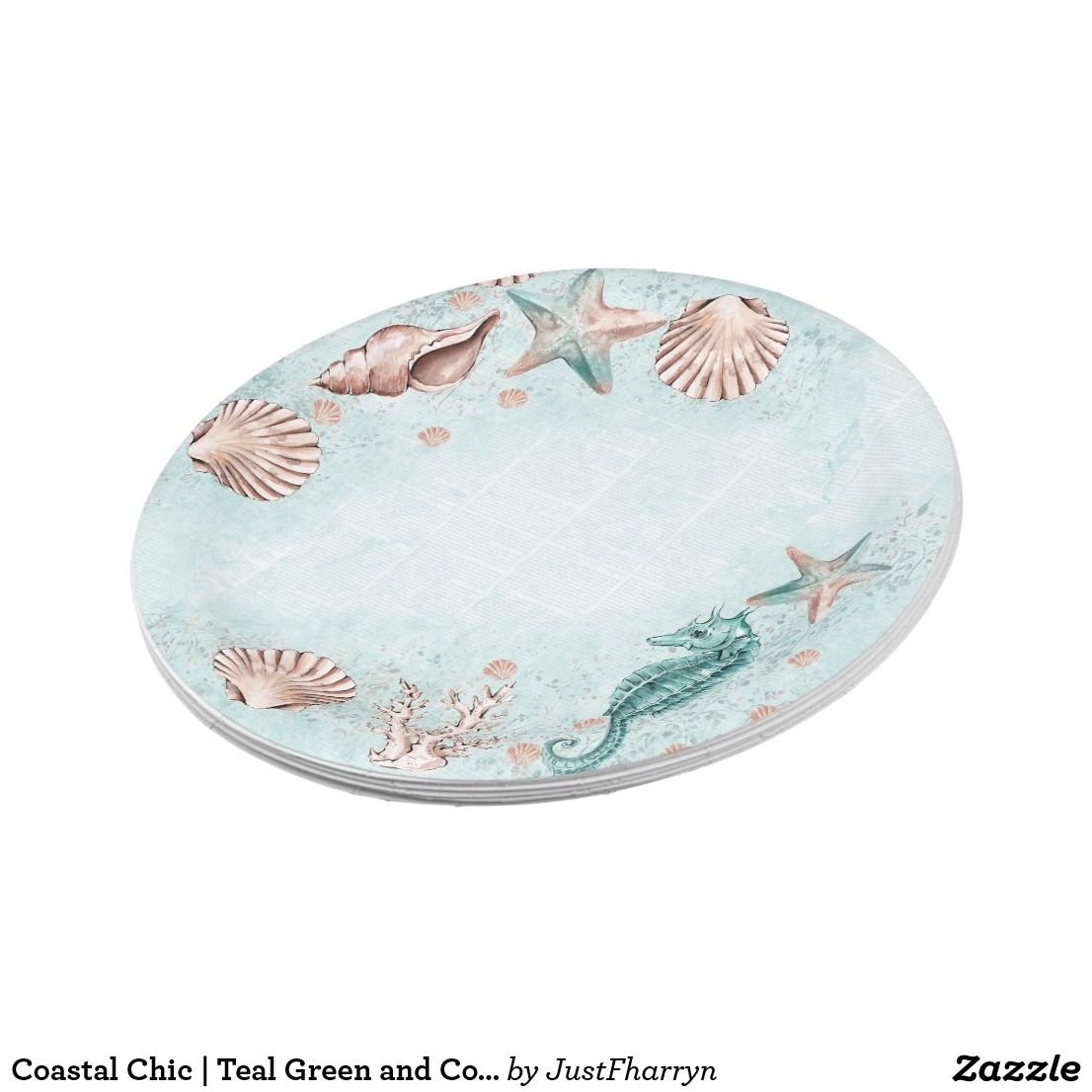 Coastal Chic Teal Green And Coral Reef Party Paper Plate
