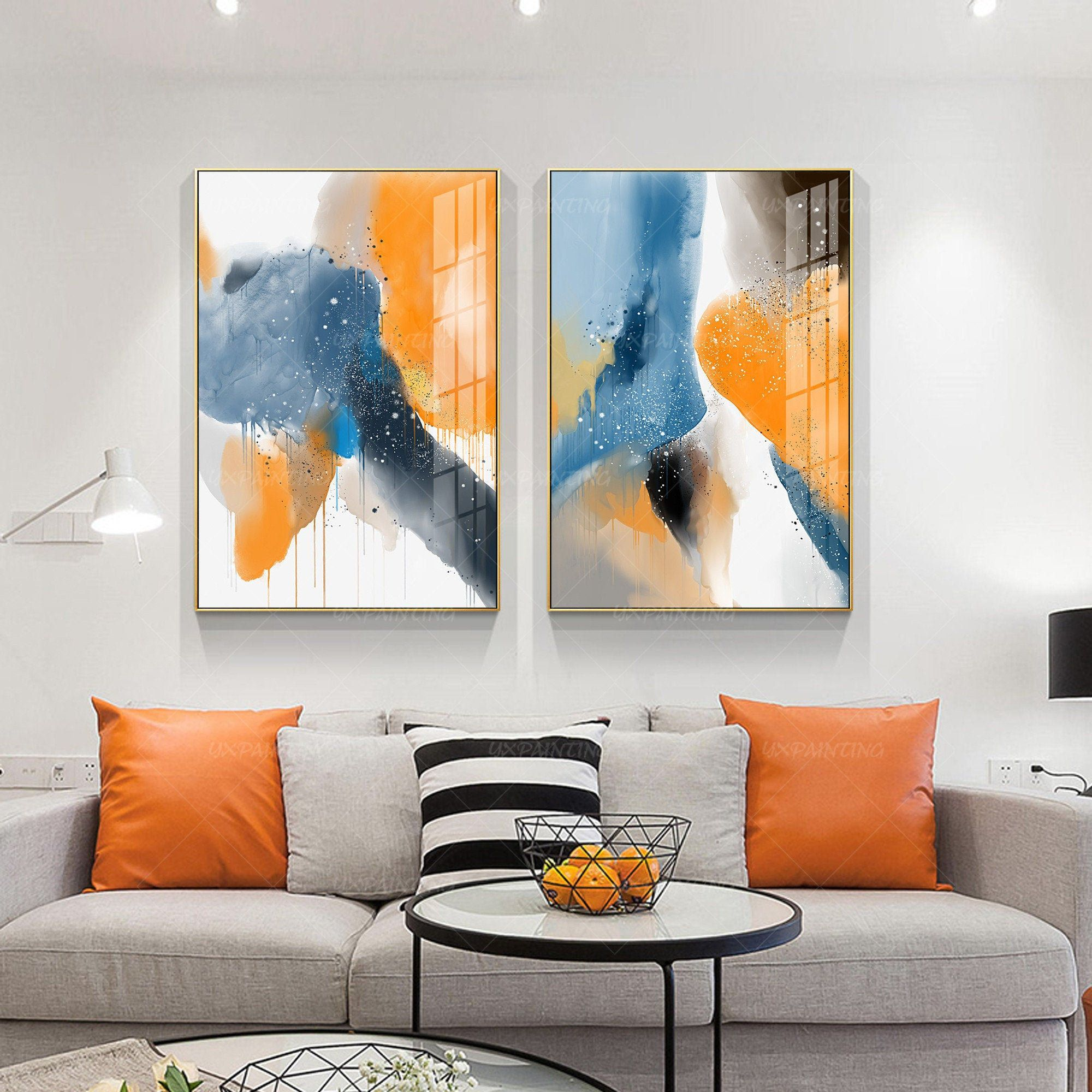 Abstract Blue Printable Wall Art Pour Fluid Framed Etsy Printables Orange