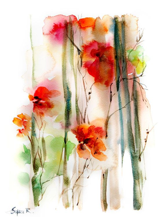 Abstract Flowers Art Print of Original by CanotStopPrints on Etsy, $20.00