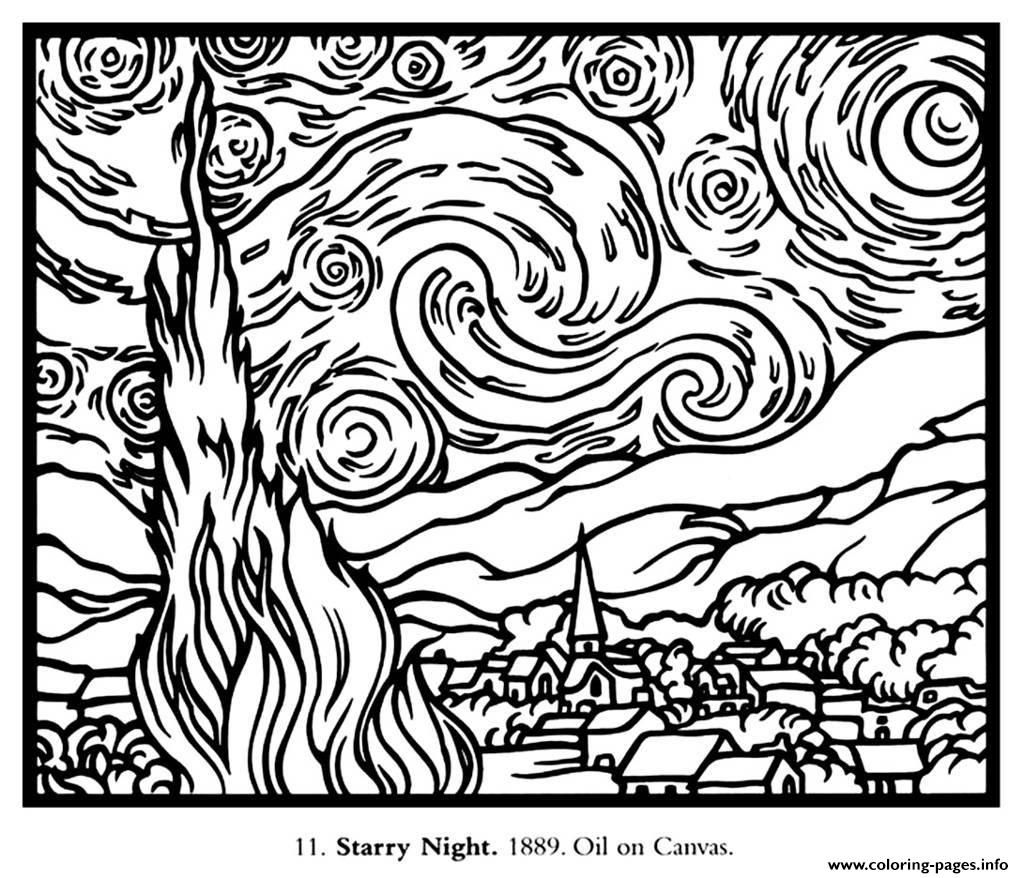 Print Adult Van Gogh Starry Night Large Coloring Pages