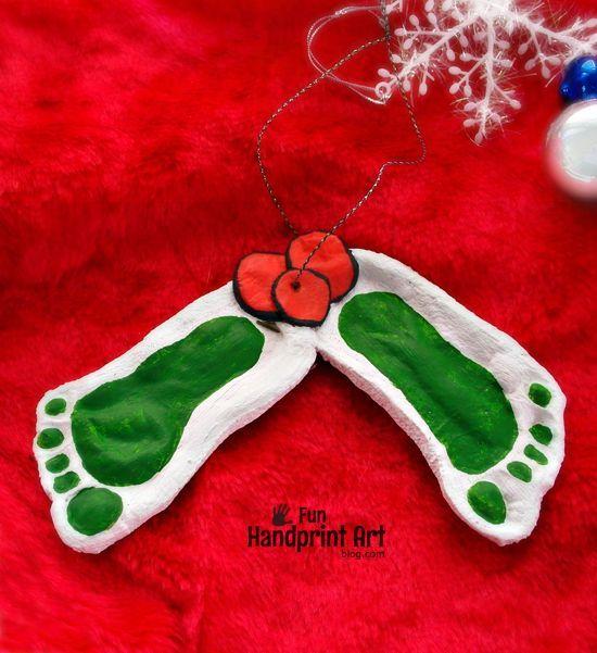 Darling Mistletoe Footprint Ornament made with Salt Dough - #Darling #Dough #Footprint #mistletoe #Ornament #Salt #saltdough #mistletoesfootprintcraft