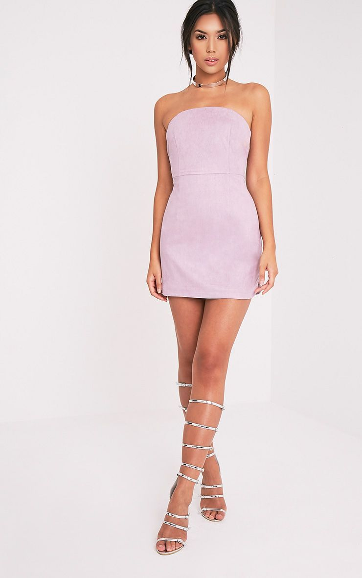 ccc339ac63b Lilac Faux Suede Bandeau Bodycon Dress