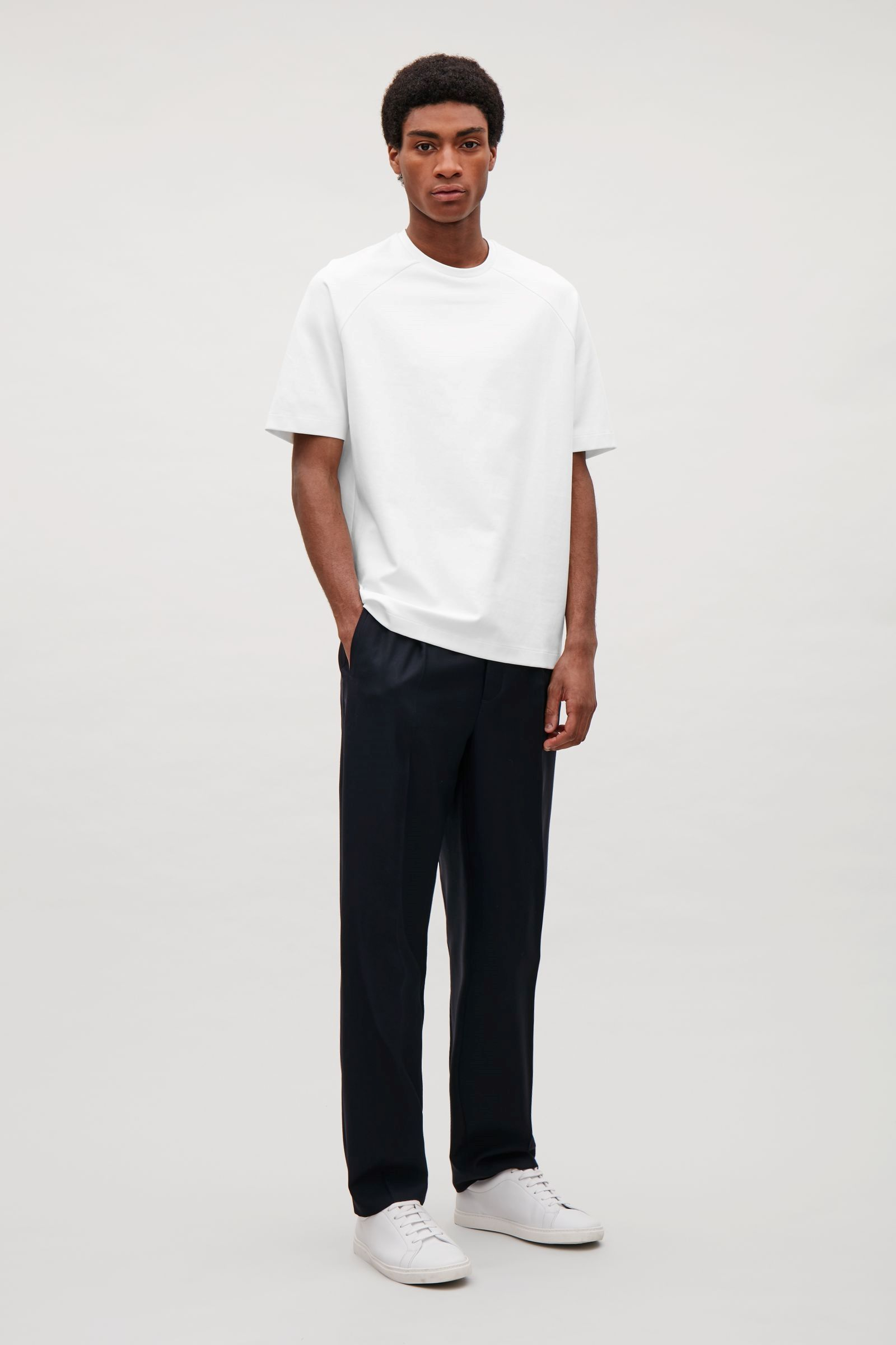 COS image 1 of Bonded jersey t shirt in Pearl White | Latest