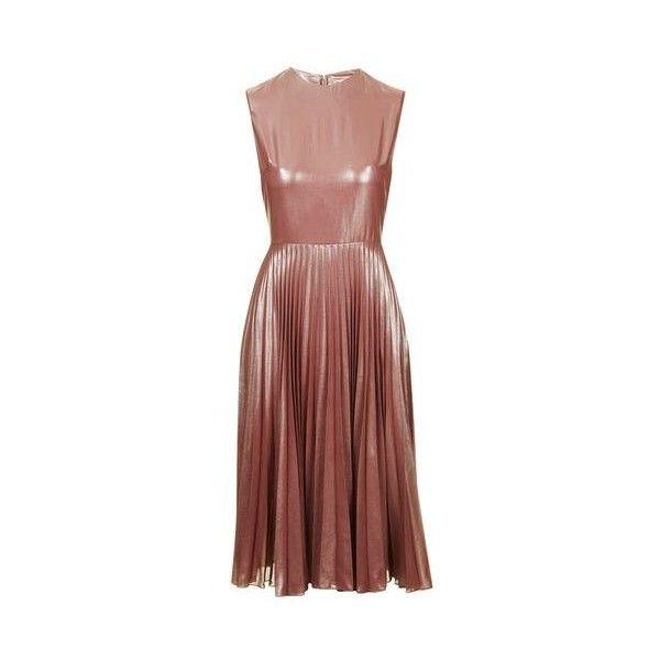 TopShop Petite Metallic Lamé Pleated Midi Dress (435 BRL) ❤ liked on Polyvore featuring dresses, dusty pink, cocktail prom dress, petite cocktail dress, high neck dress, midi cocktail dress and red midi dress