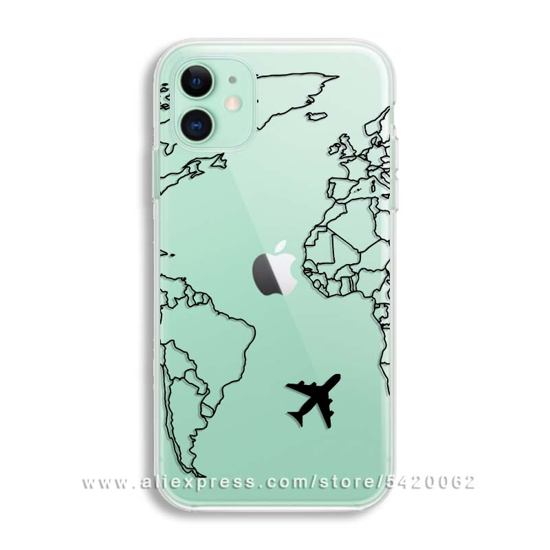 Luxury World Map Travel Soft TPU Phone Case For Iphone 11 Pro XR ...