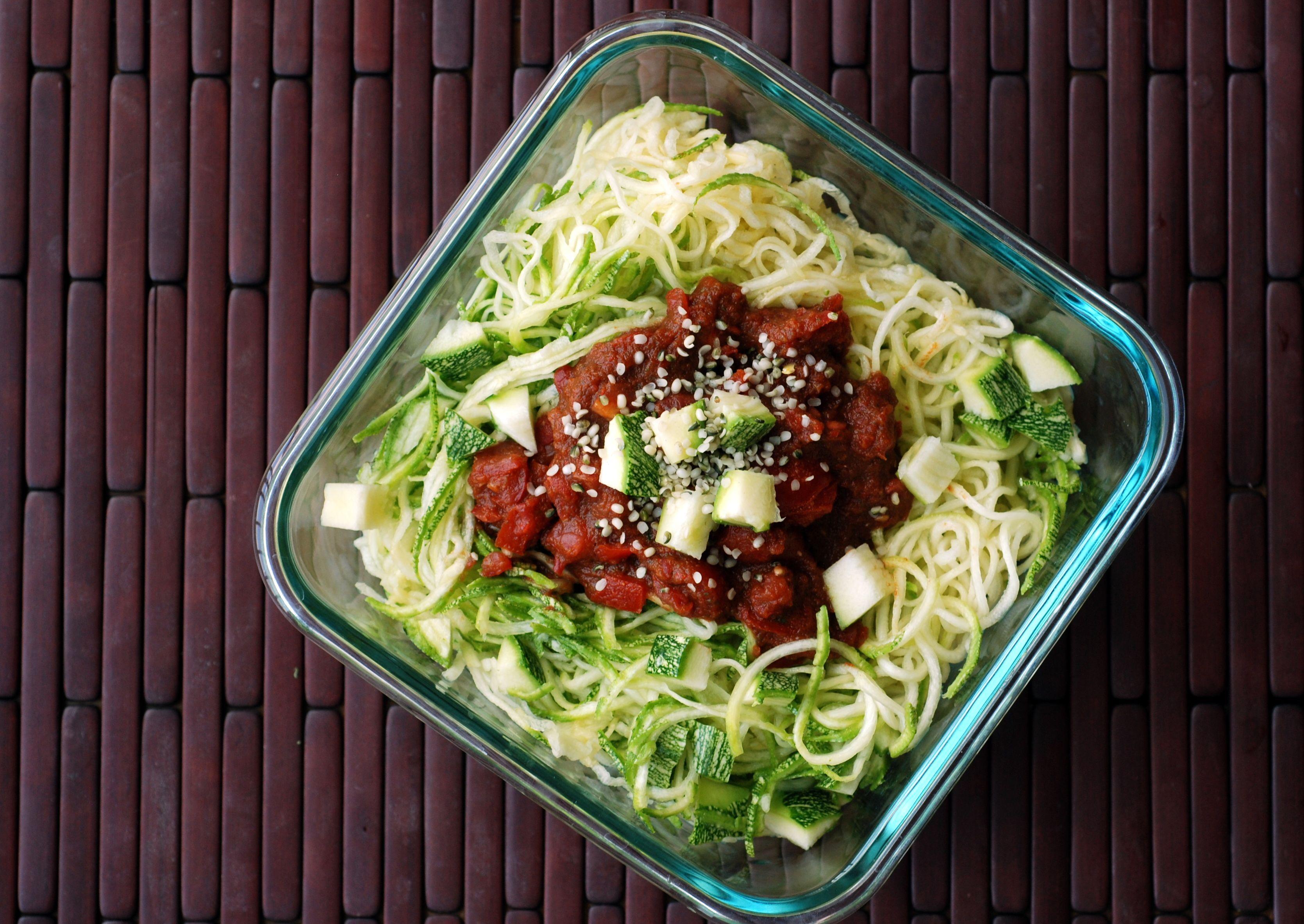 Raw food spaghetti vegan recipes pls like reshare pin thanks raw chunky tomato marinara sauce with zucchini noodles forumfinder Gallery