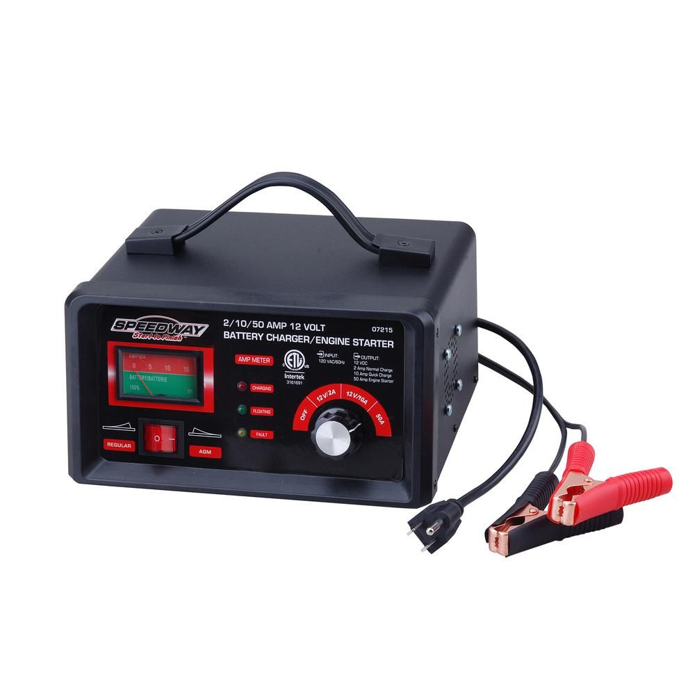 Speedway 120 Volt 2 2 Amp Battery Charger And Starter 7215 The Home Depot Car Battery Charger Automatic Battery Charger Battery Charger
