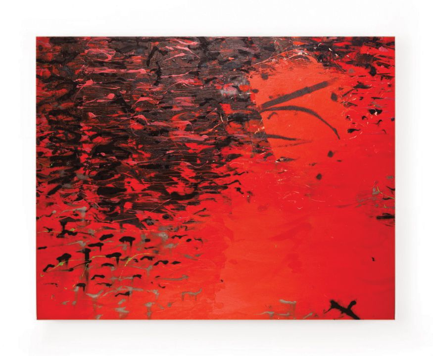 Mark Surridge Sun Red Reflection; oil and mixed media on