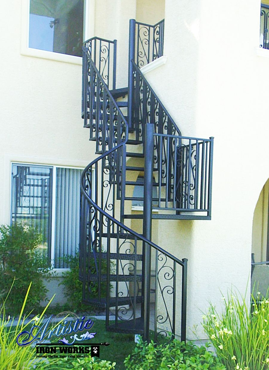 Wrought Iron Straight Spiral Exterior Staircase Planos De   Iron Works Spiral Stairs   Stair Railing   Stair Case   Stair Treads   Handrail   Wrought Iron