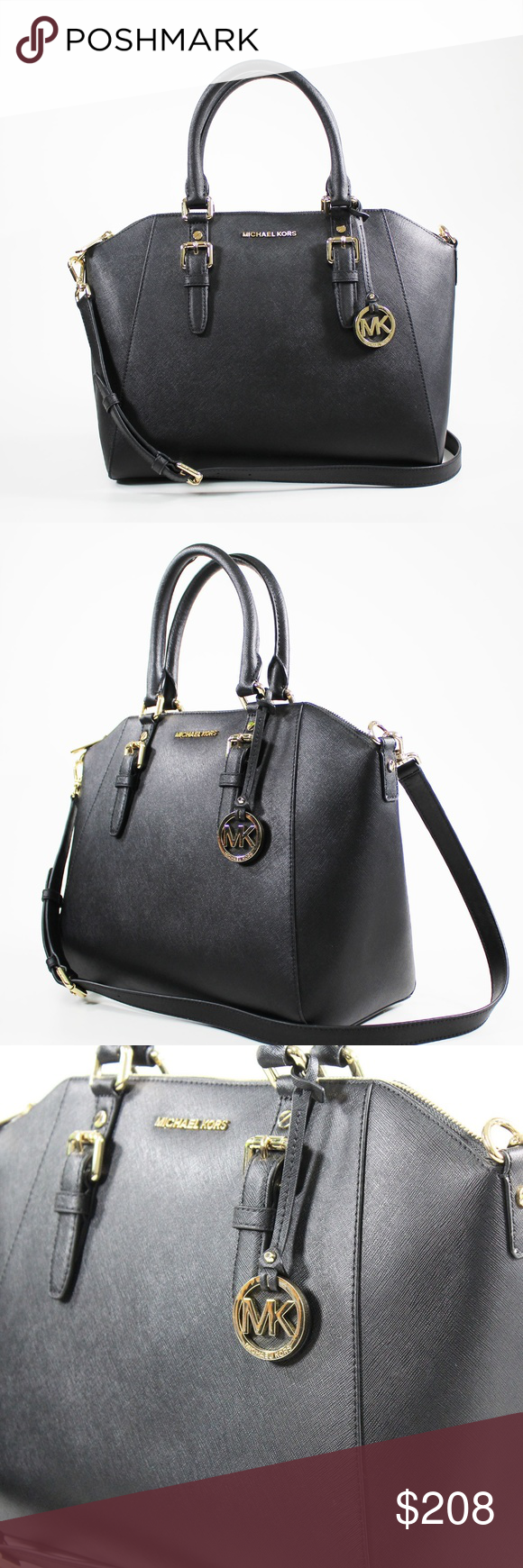 8a8f3053197d MICHAEL KORS Ciara Large Saffiano Black Leather S MICHAEL KORS Ciara Large  Saffiano Black Leather Satchel