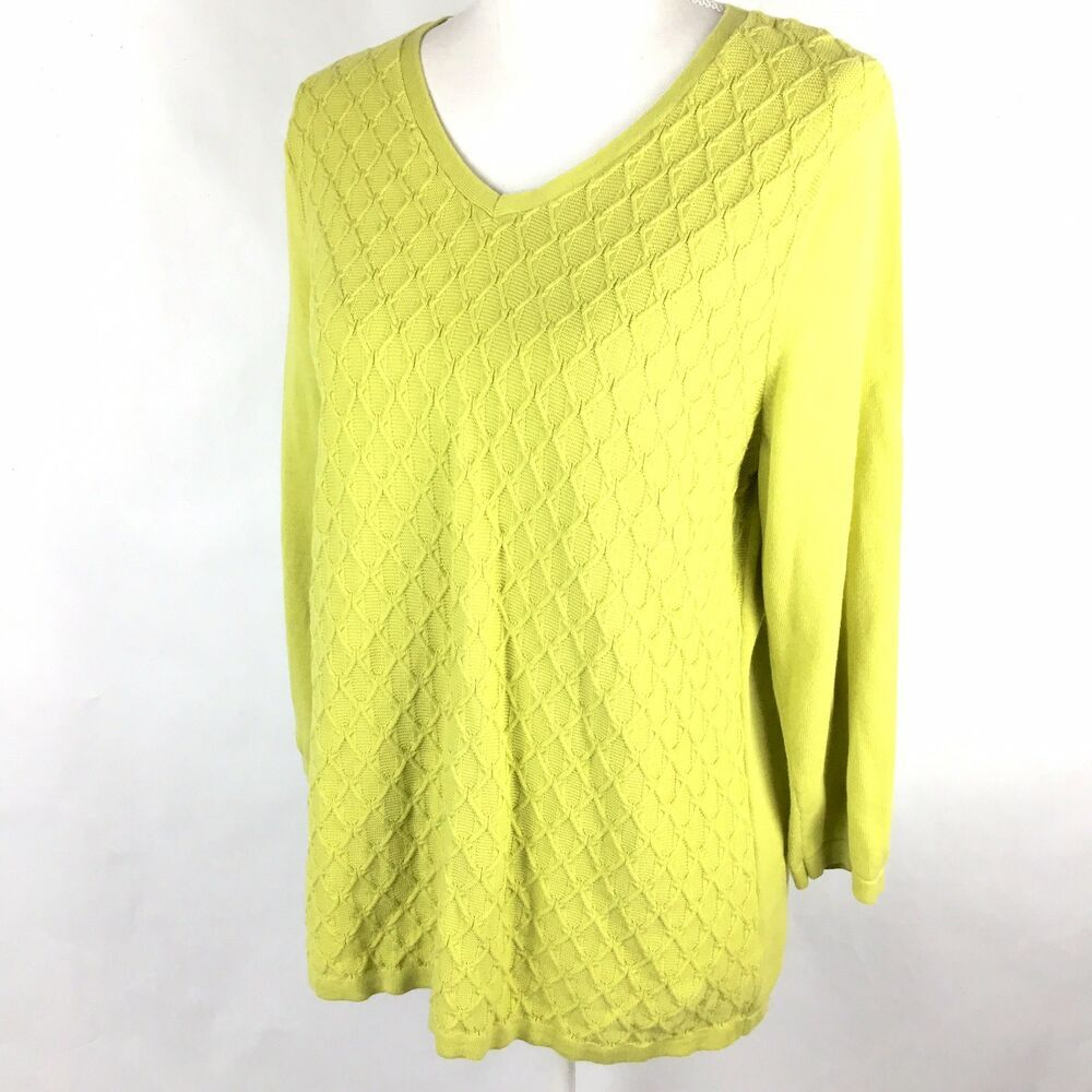 0c6a2140857e8 Talbots Sweater Sz L Green Chartreuse Cotton Cable Knit V-Neck 3 4 Sleeves
