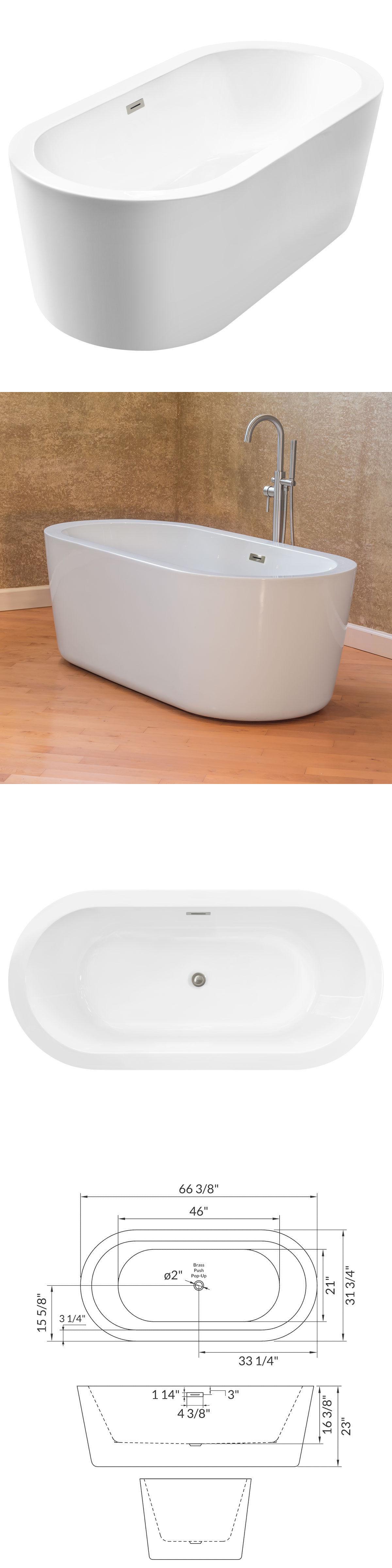 Bathtubs 42025: Lesscare Ltf1 67 Glossy White Acrylic Freestanding ...