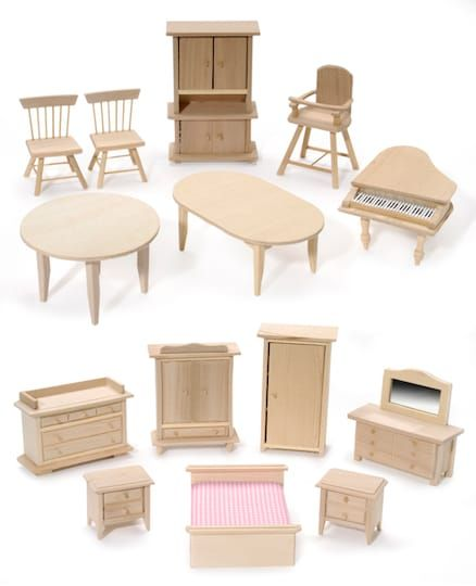 Pine Wood Mini Furniture - 12 Styles