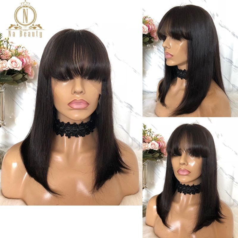 53.56US $ 48 OFF Lace Front Short Bob Wig 613 Blonde Red Colored Human Hair Wigs Straight Fringe Wig With Bangs For Black Women 13x4 Nabeauty 150 wigs with bangs wig humanwig withe   AliExpress Gallery