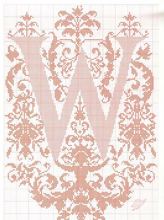 "cross stitch alphabet in 2 colors- very ornate monogram 26 single letters -- ""W"" #23"