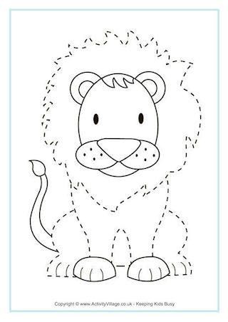 African Animal Printables Preschool Tracing Lion Craft Animal Worksheets Animal tracing for kindergarten