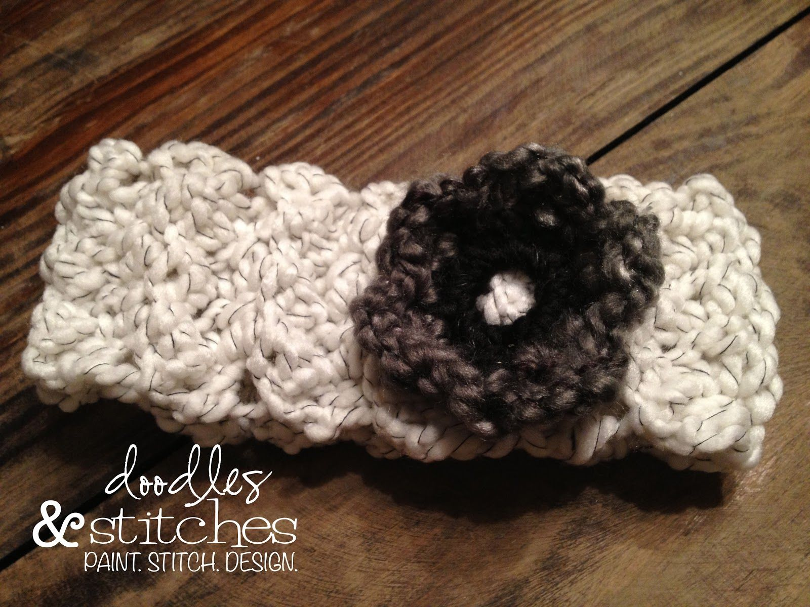 Crocheted headband with flower doodles stitches crochet crocheted headband with flower doodles stitches baditri Image collections