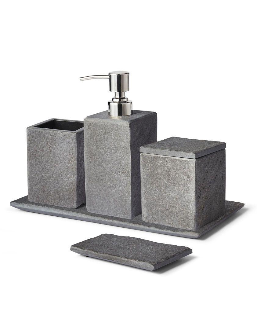 Slate Bath Accessory Collection Cimento Banheiro Decoracao