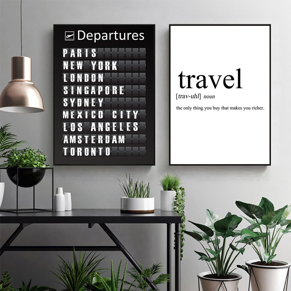 Quotes Canvas Painting Wall Art Black And White Art Posters Travel Poster Print Nordico Wall Pictures For Living Room Decoration