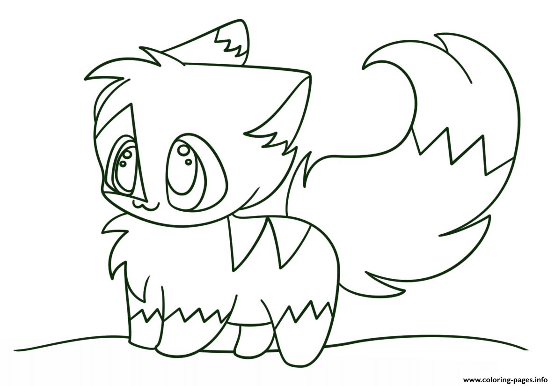 Print kawaii chibi cat coloring pages Cute kawaii animals