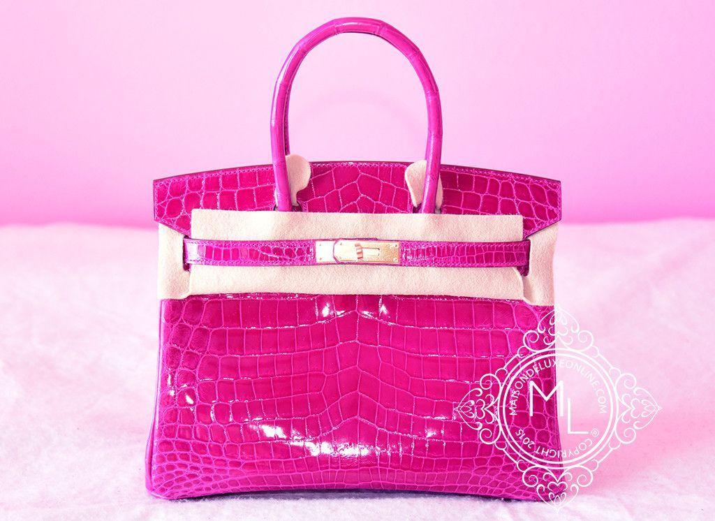 3d9ef5d03b10 Hermes Rose Scheherazade Hot Pink GHW Crocodile Birkin 30 Handbag ...