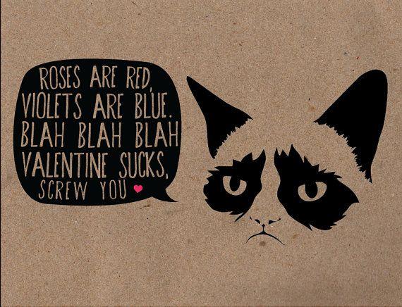 Grumpy Cat Valentines Card by LittleBambii04 on Etsy