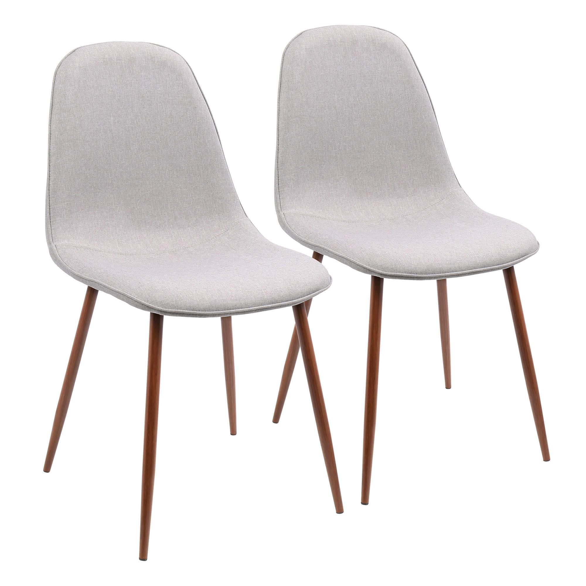Pebble Mid Century Modern Dining Accent Chair In Walnut Grey