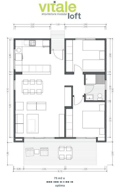 Casas Prefabricadas Modulares de Hormigón - Modelo Optima 75 m2 - Plan Architecture Maison 100m2