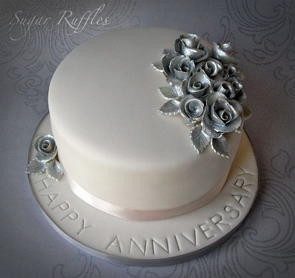 25th Wedding Anniversary Cake Ideas: Silver Happey Anniversary Cake Designs Pictures Romantic