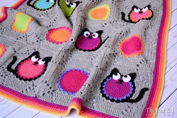 Cat Afghan Pattern | Crochet cat pattern, Quick crochet afghan ... | 380x570