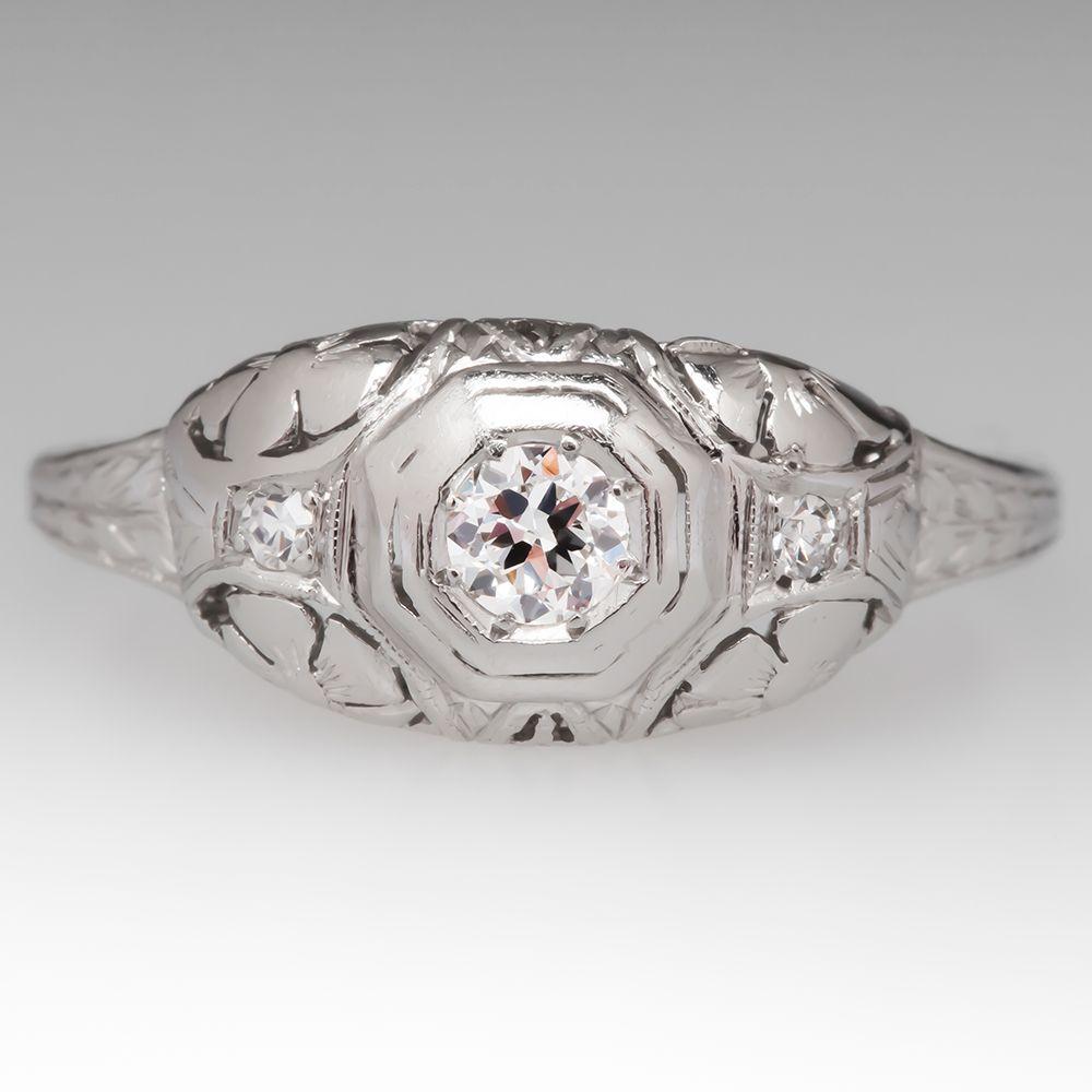 Art Deco Filigree Engagement Ring Old Euro Diamond Center