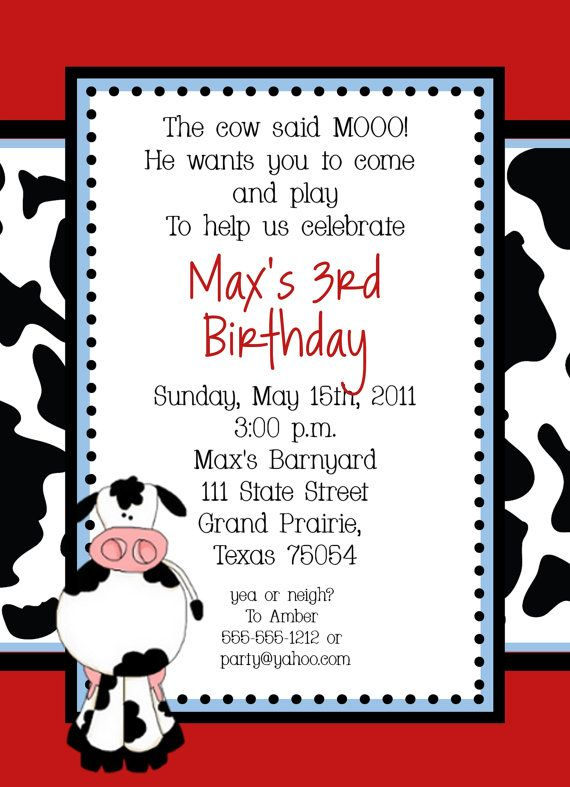 cow farm birthday party invitation custom by allisonpowelldesigns
