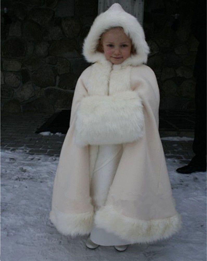 218c99059 White Ivory Child Winter Long Capes Flower Girl Kid Ankle Length ...