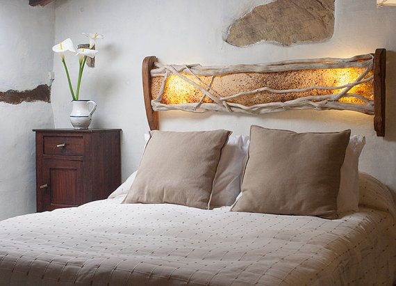 Ivy headboard eco lamp design Artisan Handmade Ivy Wood