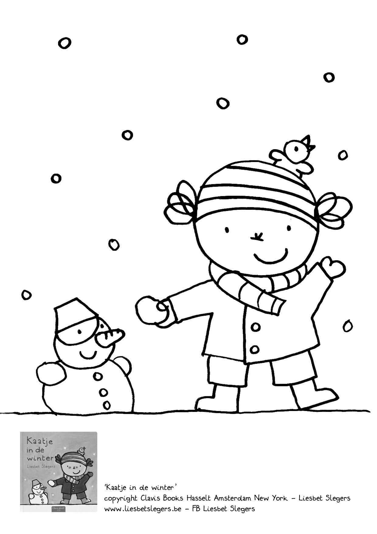 Pin Van Mieke Helgers Op Thema Winter Kleurplaten Winterpret Winter