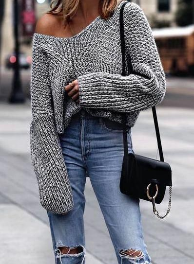 caef48d0b04 Solid Long Sleeve Cable Knit Sweater | t r e n d y | Autumn fashion ...